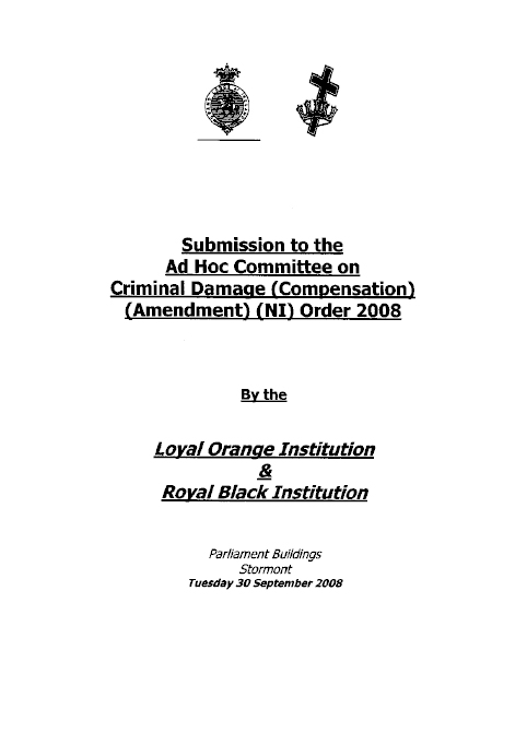 Loyal Orange and Royal Black Institution submission