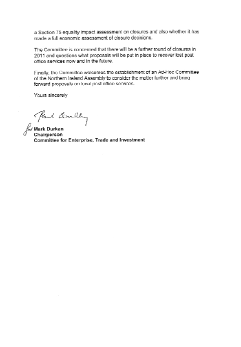 Committee for Enterprise, Trade & Investment Reponse to Post Office Ltd Consultation
