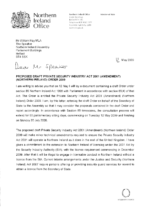 Letter of 12 May 2009, from Mr Paul Goggins MP