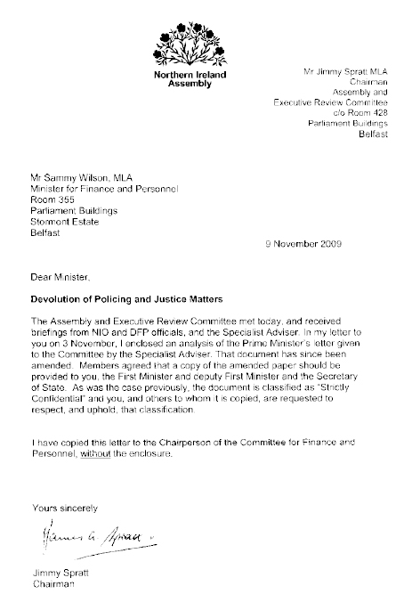 Letter to Minister for Finance and Personnel