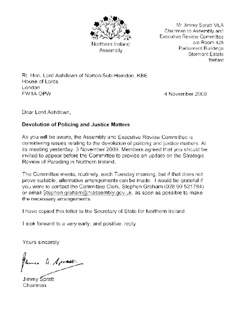 Letter to Rt. Hon. Lord Ashdown