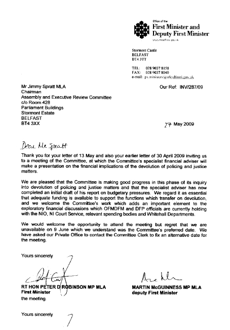 Letter from First Minister and deputy First Minister