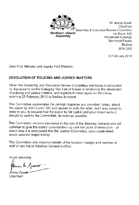 Letter to First Minister and deputy First Minister