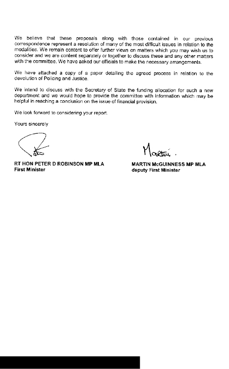 Letter from First Minsiter and Deputy First Minister