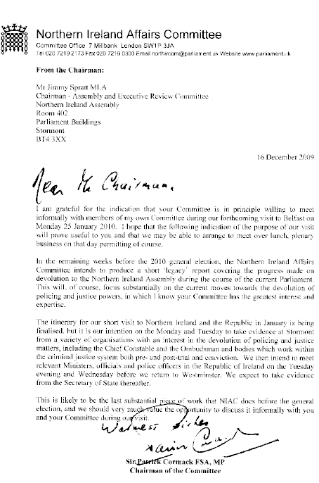 Letter from NI Affairs Committee