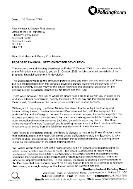 Letter to the First Minister and deputy First Minister