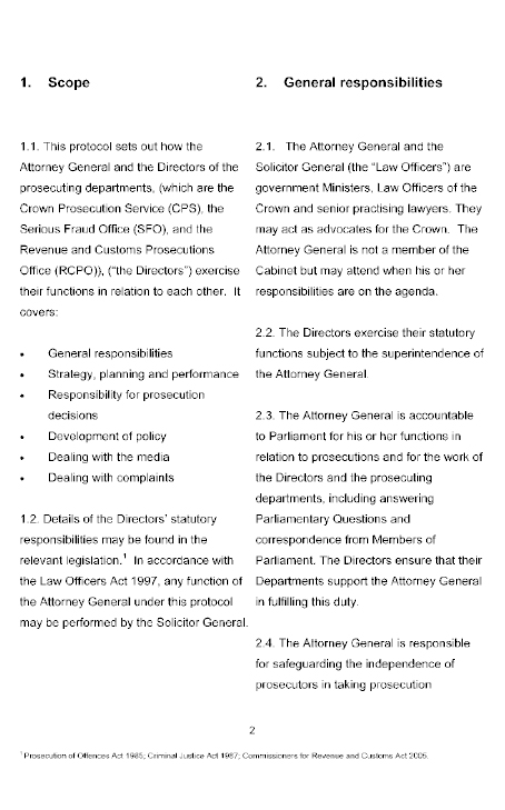 Protocol between the Attorney General and the Prosecuting Departments