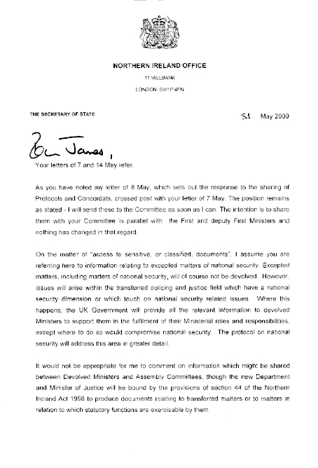 Letter from Secretary of State