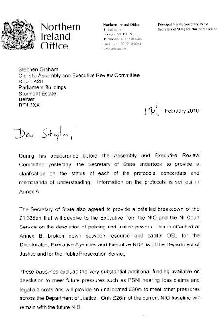 Letter from Northern Ireland Office