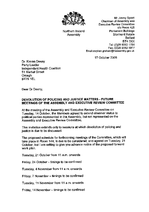Letter to the Independent Health Coalition 17 October 2008