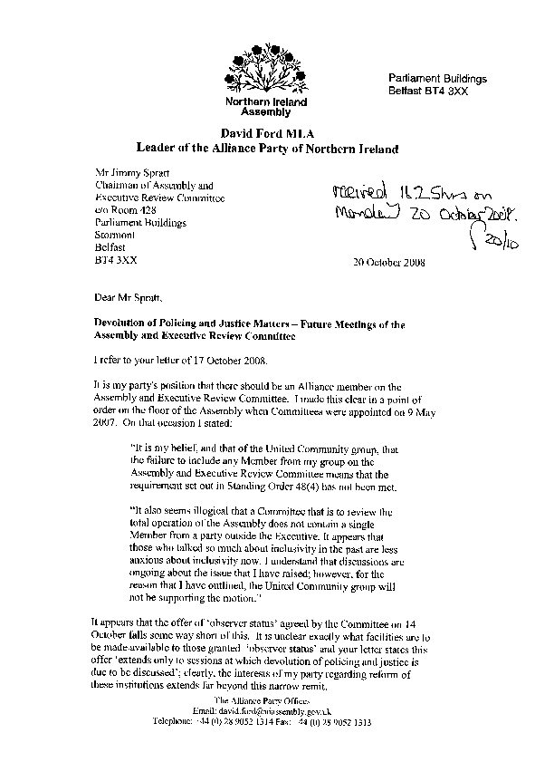 Letter from David Ford, MLA 20 October 2008