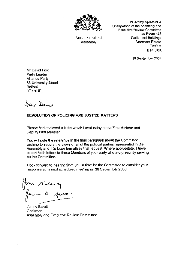 Letter to the Alliance Party 19 September 2008