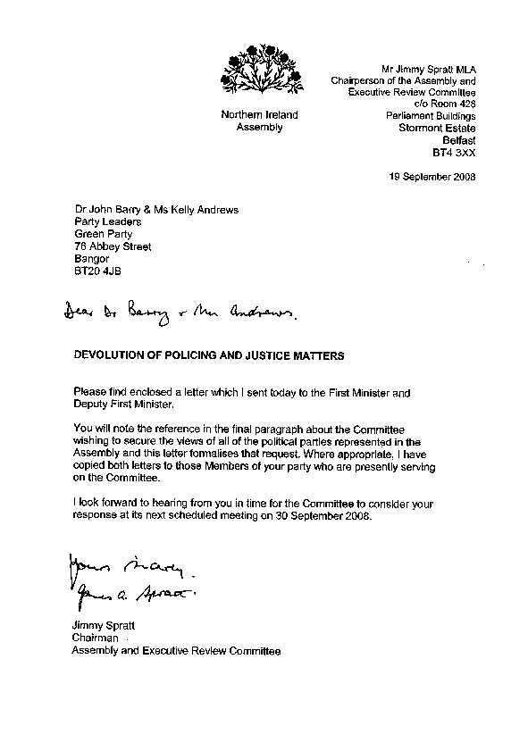 Letter to the Green Party 19 September 2008