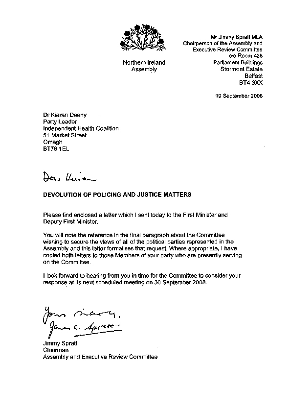 Letter to the Independent Health Coalition 19 September 2008