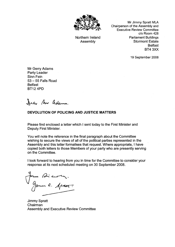 Letter to Sinn Féin 19 September 2008