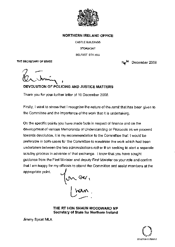 Letter from the Secretary of State 14 December 2008
