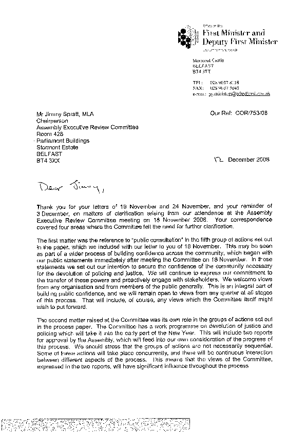 Letter from the First Minister  and deputy First Minister 12 December 2008