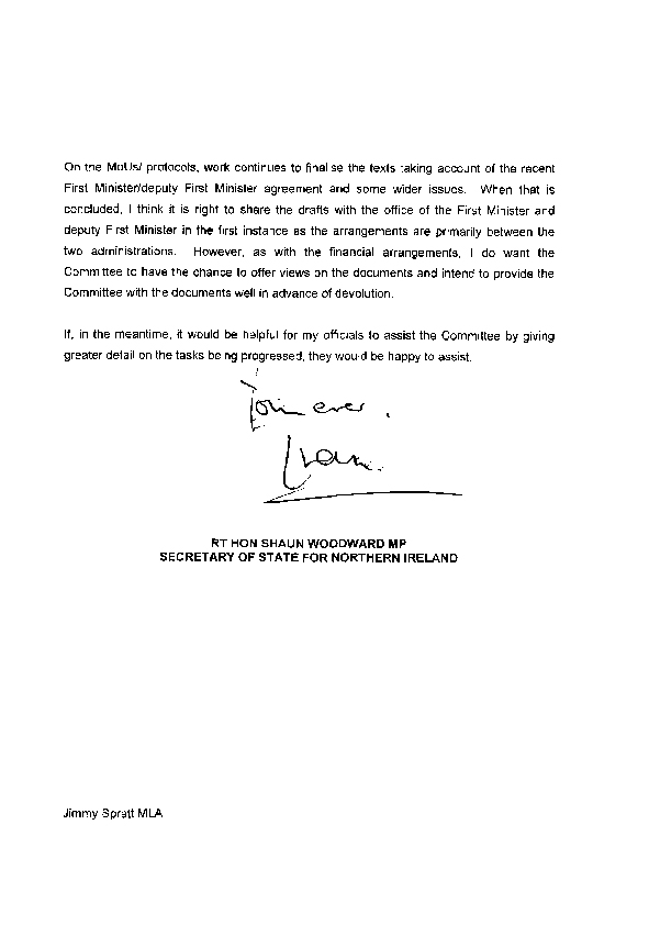 Letter from the Secretary of State 3 December 2008