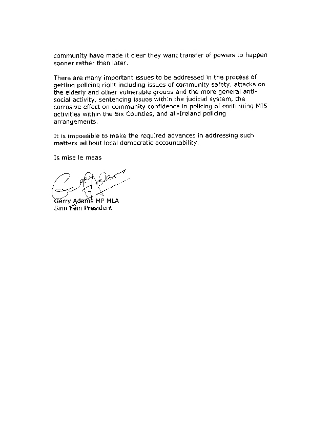 Letter from Sinn Féin 29 September 2008