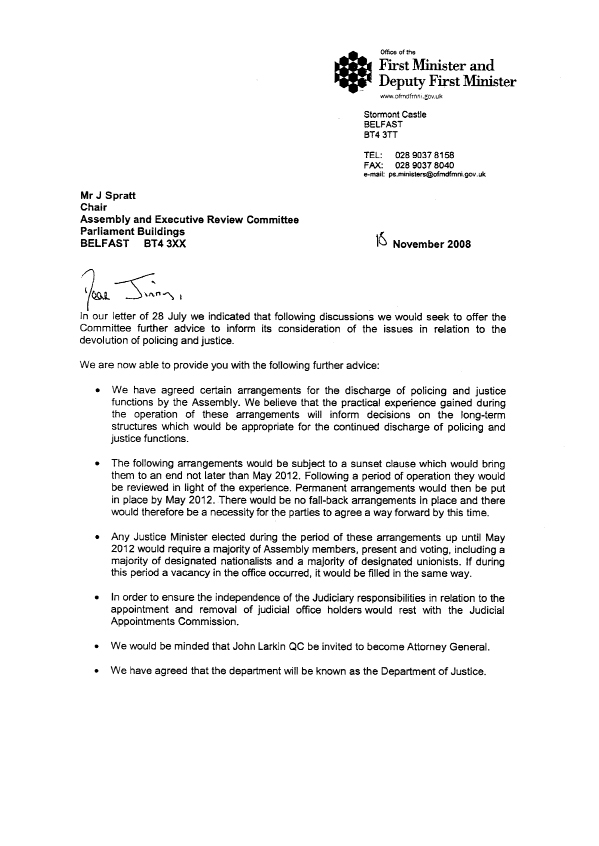 Letter from the First Minister and deputy First Minister 18 November 2008