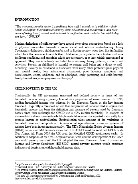 Child poverty essay