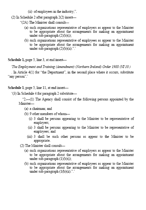 Amendments to the Employment Bill
