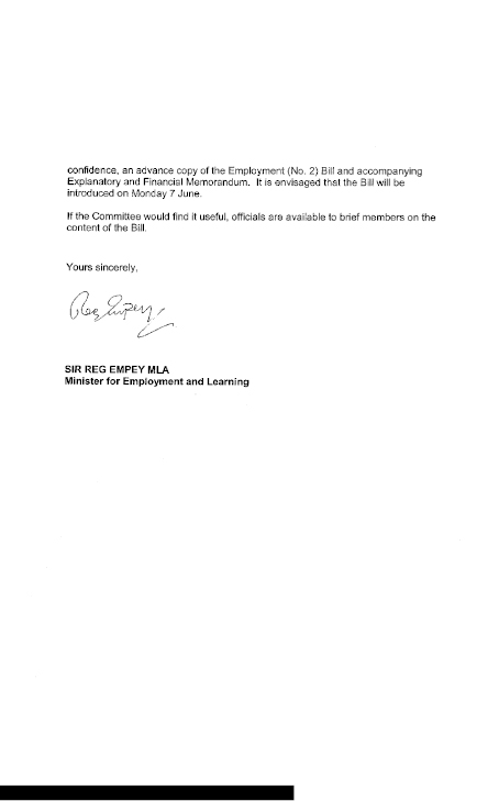 Committee for Employment and Learning Report on the Employment – Endorsement Letter for Employment