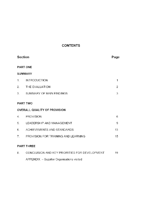 Education and Training Inspectorate Contents page