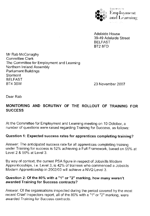 Employment And Learning Committee Report First Report On Training