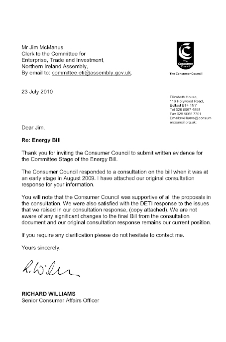 Northern ireland assembly committee for enterprise trade for Bill submission covering letter