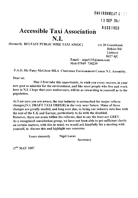 Northern Ireland Assembly - Report on the Taxis Bill (NIA 4/07)