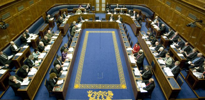 A debate taking place in the Assembly Chamber