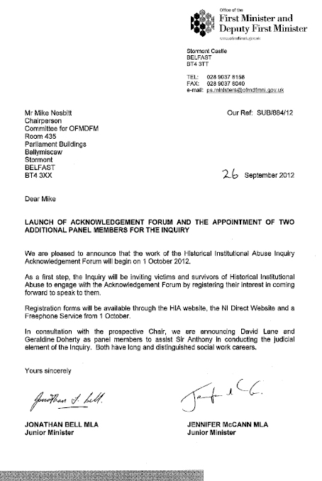 Junior Ministers letter regarding launch of Acknowledgement Forum