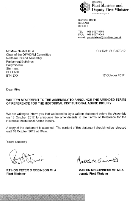Ministerial letter to Chair regarding statement on amendments to ToR