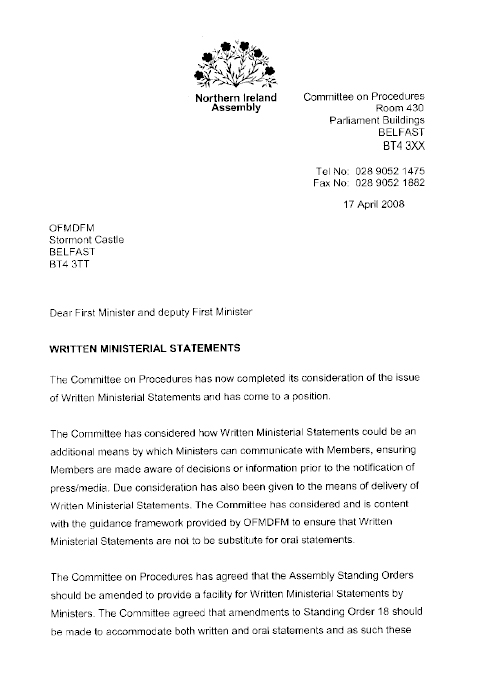 Northern Ireland Assembly Report On Written Ministerial