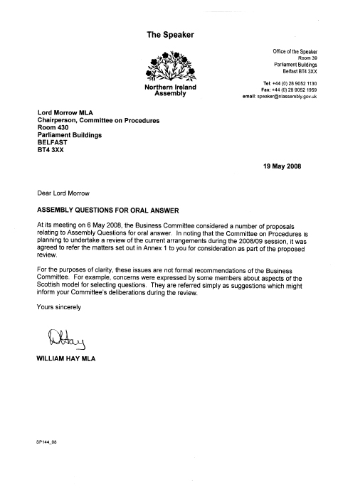 Welcome to the northern ireland assembly letter from the speaker to lord morrow spiritdancerdesigns Images