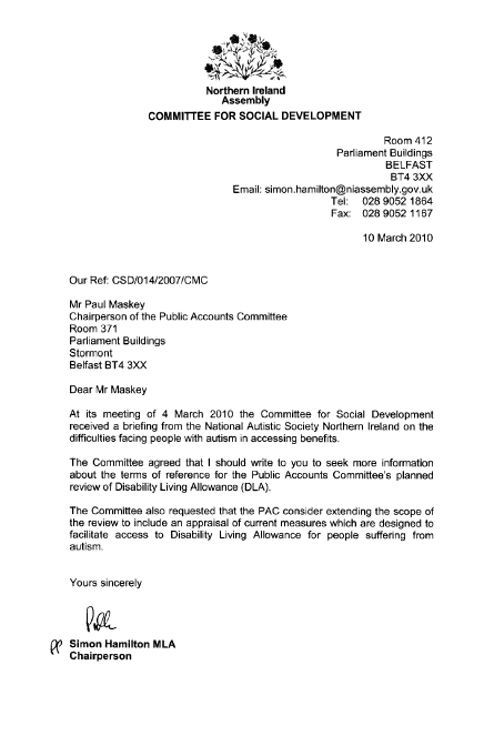 letter to paul maskey - Sample Letter Of Appeal For Reconsideration