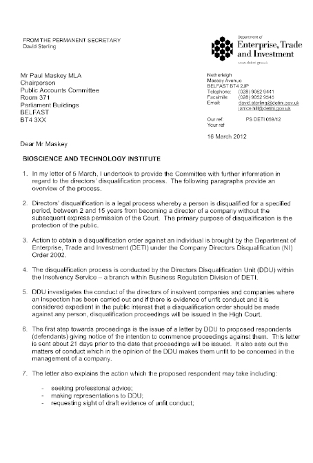 Correspondence of 16 March 2012 - Mr David Sterling