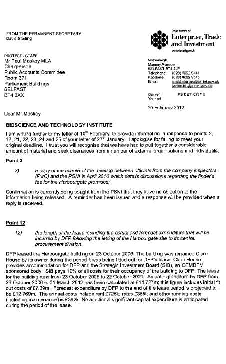 Correspondence of 20 February 2012 from Mr David Sterling