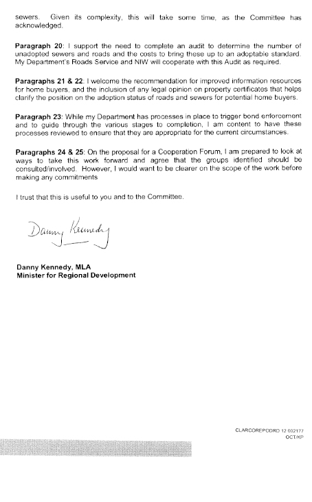 Ministerial Comments on Inquiry