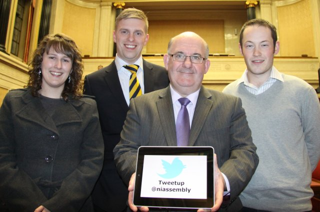 Pictured L-R: Mary Shiels, UTV's Marc Mallett, Speaker of the NI Assembly William Hay MLA and Enda Fox.