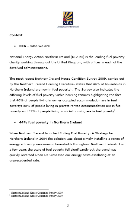 National Energy Action submission