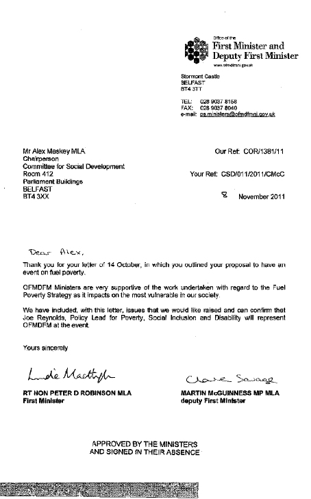 Office of the First Minister and deputy First Minister submission