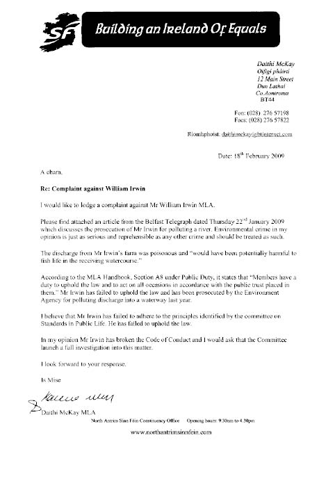 Report On A Complaint By Mr Daith Mckay Mla