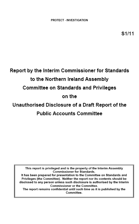 Report by the Interim Assembly Commissioner for Standards